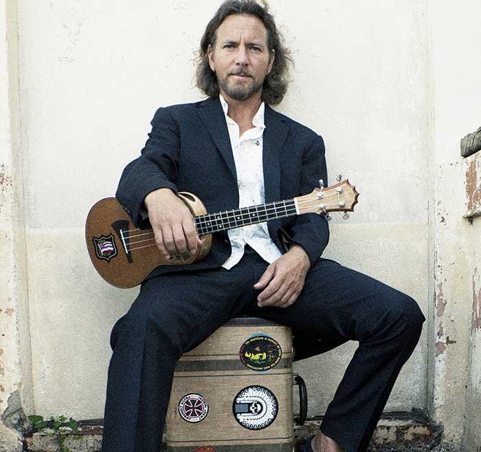 Eddie Vedder with his ukulele