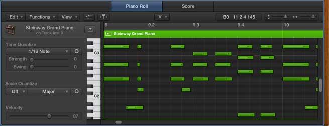 DAW piano roll view