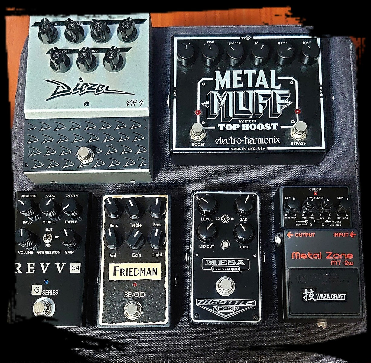 Photo of Electro-Harmonix Metal Muff with Top Boost and more gear in a pedalboard