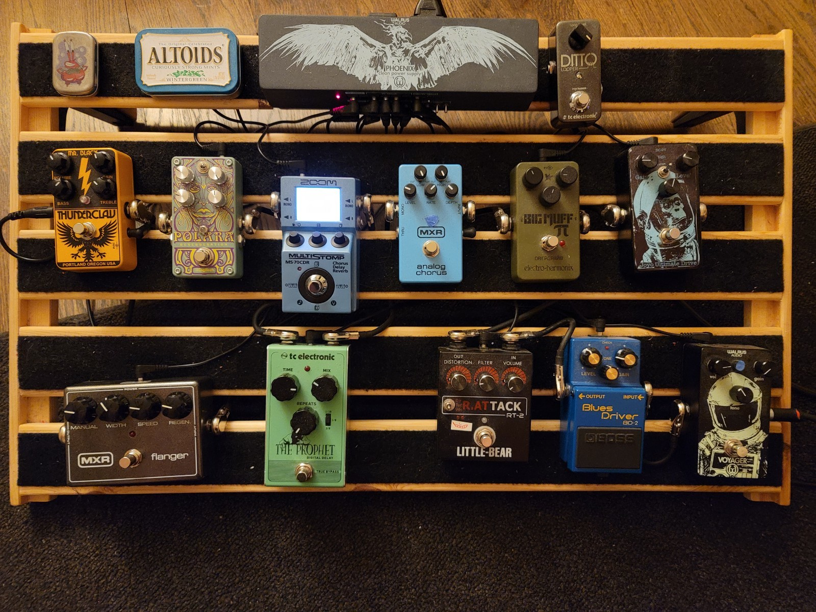 Photo of MXR M117R Flanger and more gear in a pedalboard and signal chain