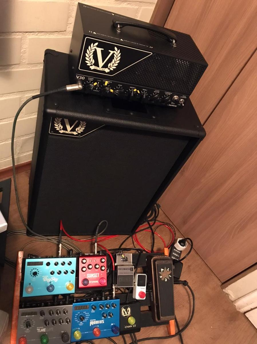 Photo of Strymon Sunset Dual Overdrive and more gear in a pedalboard, guitar, and amplifier