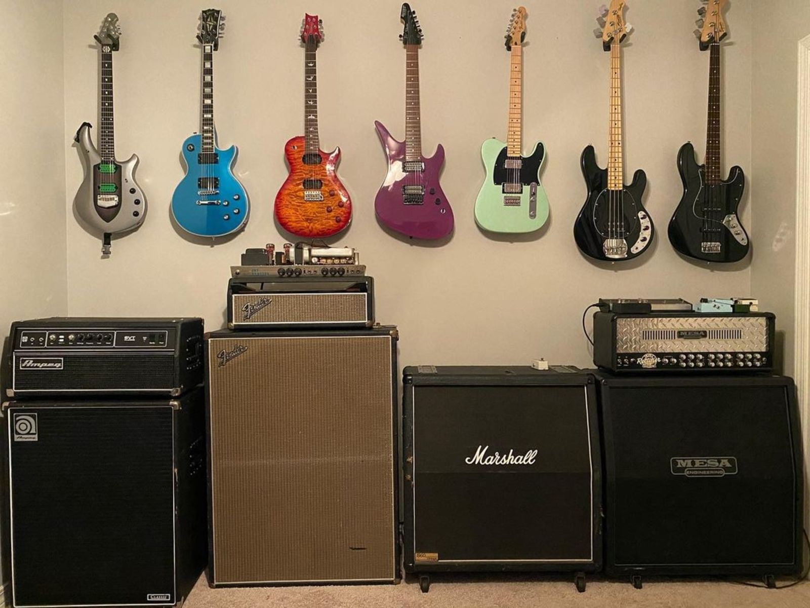 Photo of Marshall 1960A 4x12'' Cabinet and more gear in a guitar, amplifier, and Bass
