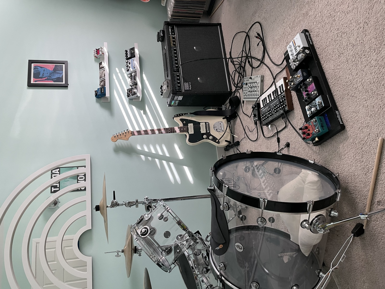 Photo of Roland JC-120 Jazz Chorus and more gear in a pedalboard, Drums, and synths