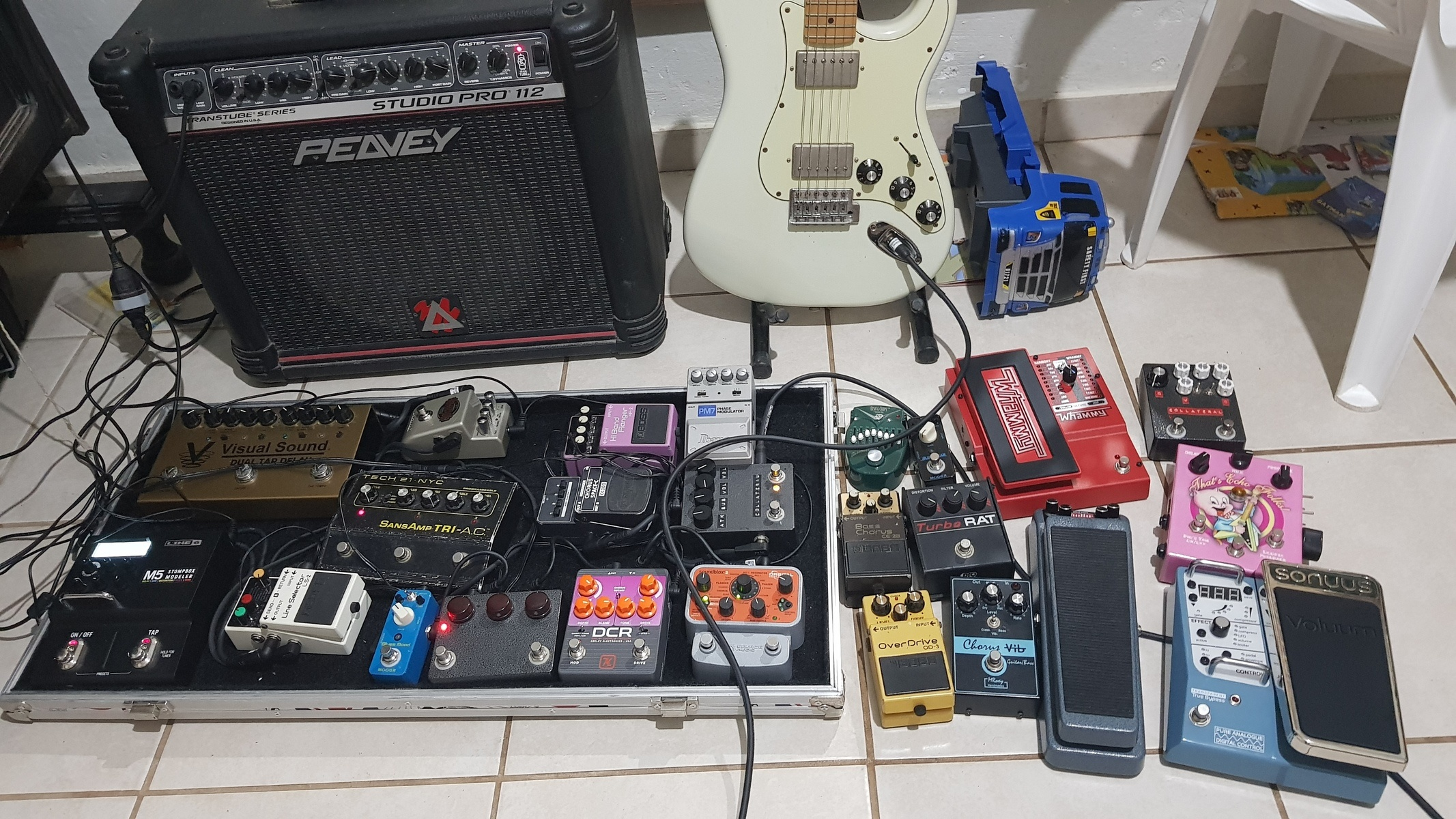 Photo of Boss LS-2 Line Selector and more gear in a pedalboard, guitar, and amplifier