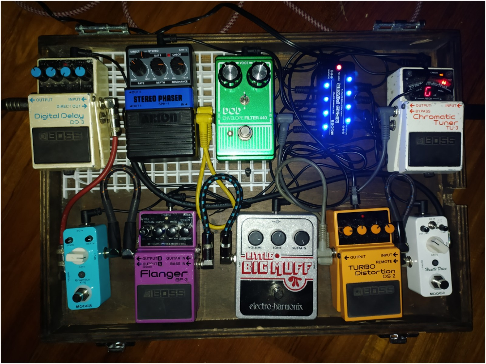 Photo of Boss BF-3 Flanger and more gear in a pedalboard and signal chain