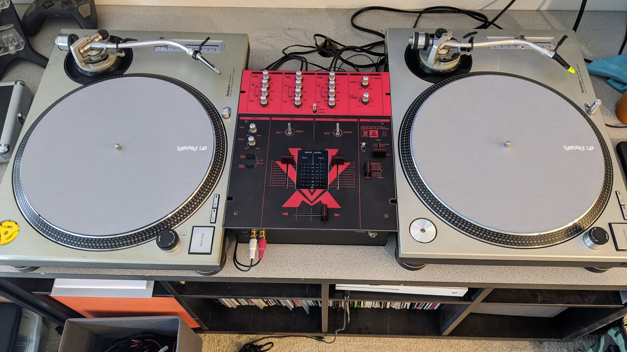 Photo of Technics SL-1200MK2 Turntable and more gear in a DJ