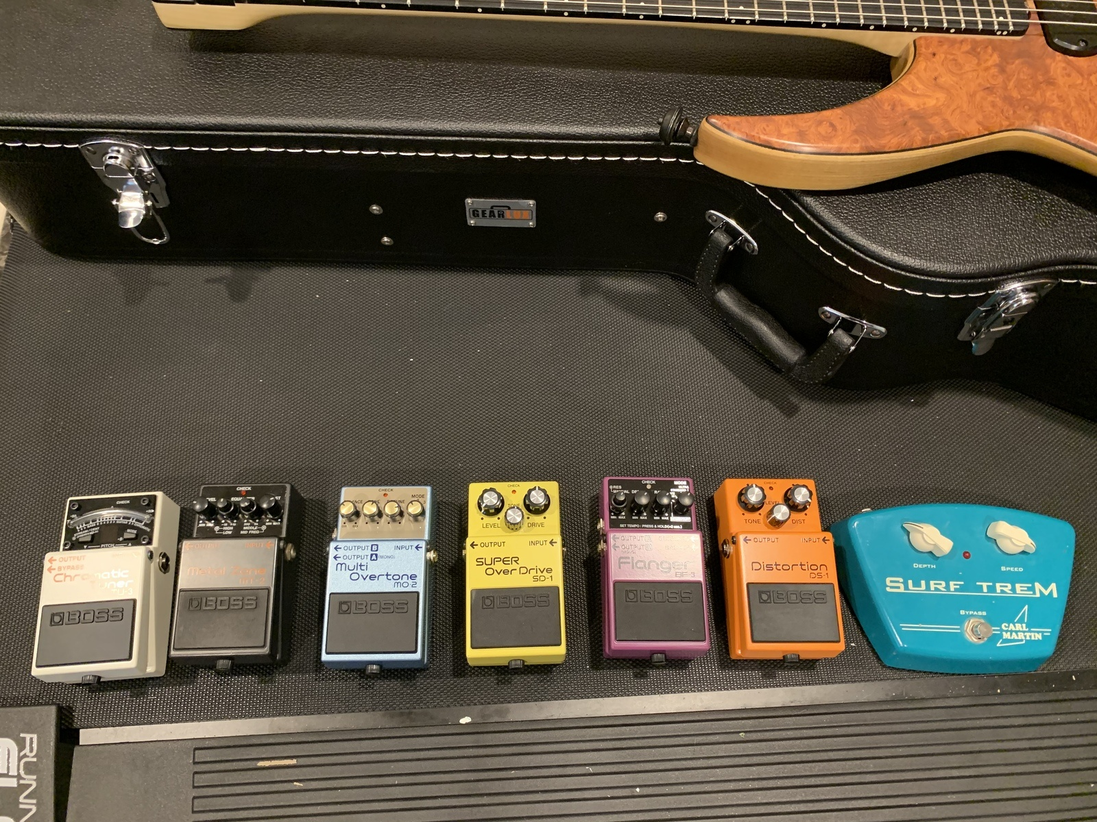 Photo of Boss BF-3 Flanger and more gear in a pedalboard
