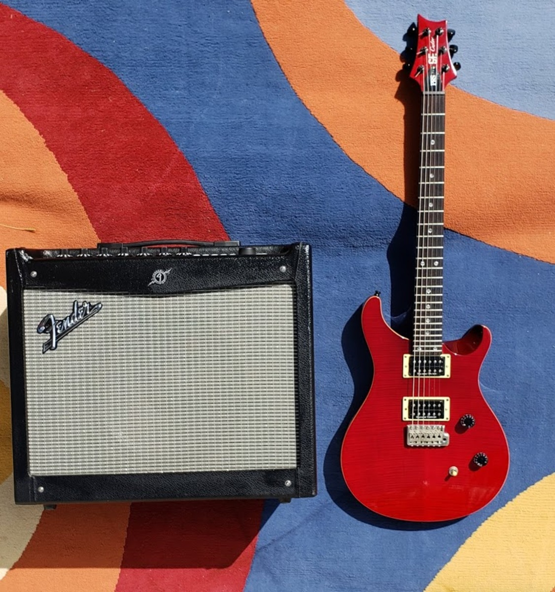 jwettel's guitar and amplifier photo containing Fender Mustang 3 Amp and PRS Paul Reed Smith SE Custom 24