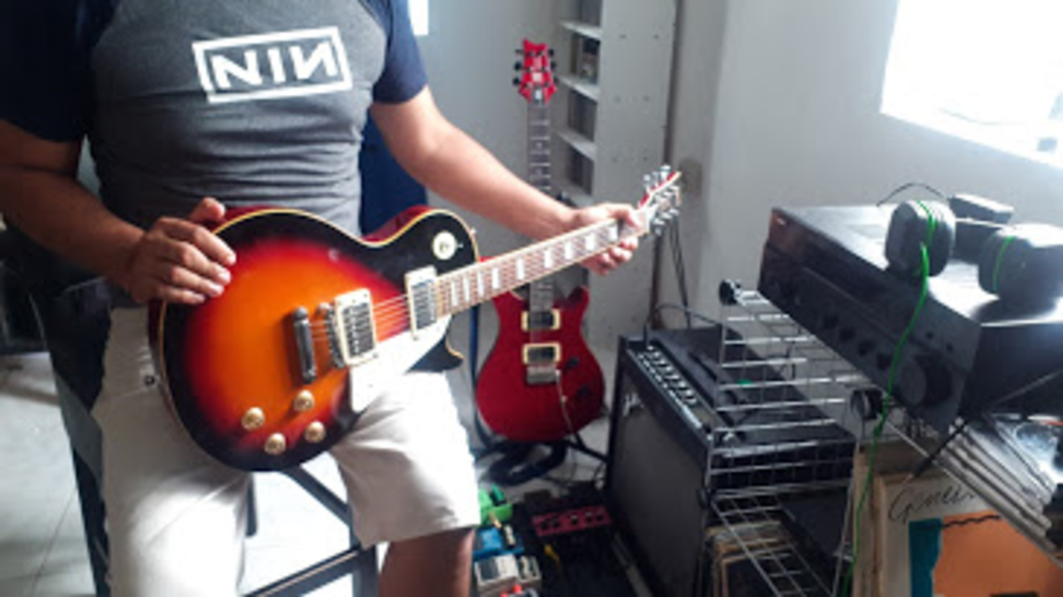 jwettel's pedalboard, guitar, and amplifier photo containing Memphis Les Paul