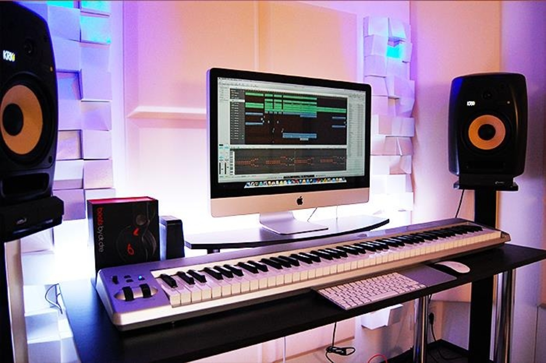 Photo of KRK VXT8 Active Studio Monitor and more gear in a studio