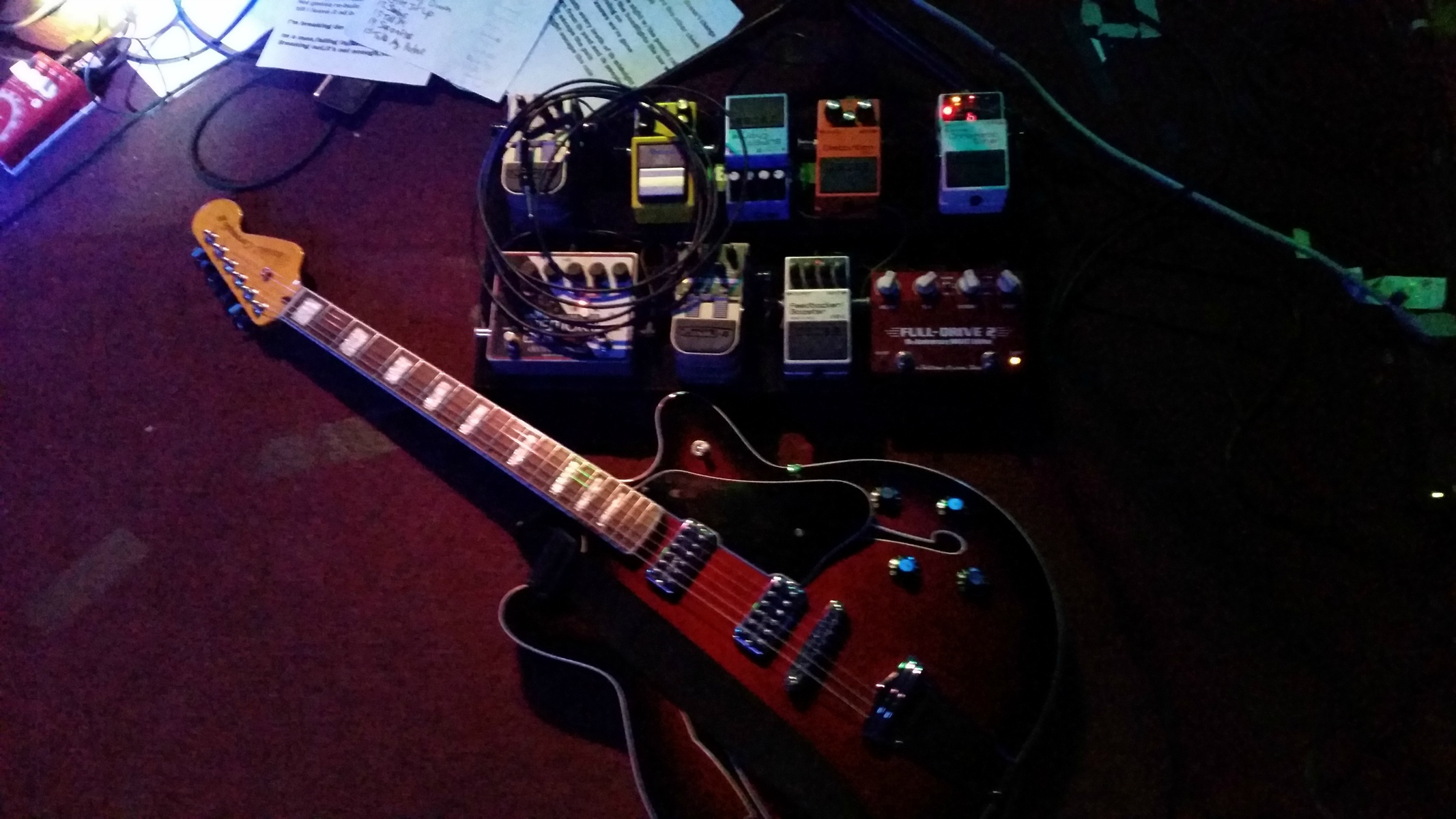 Large guitar and pedals