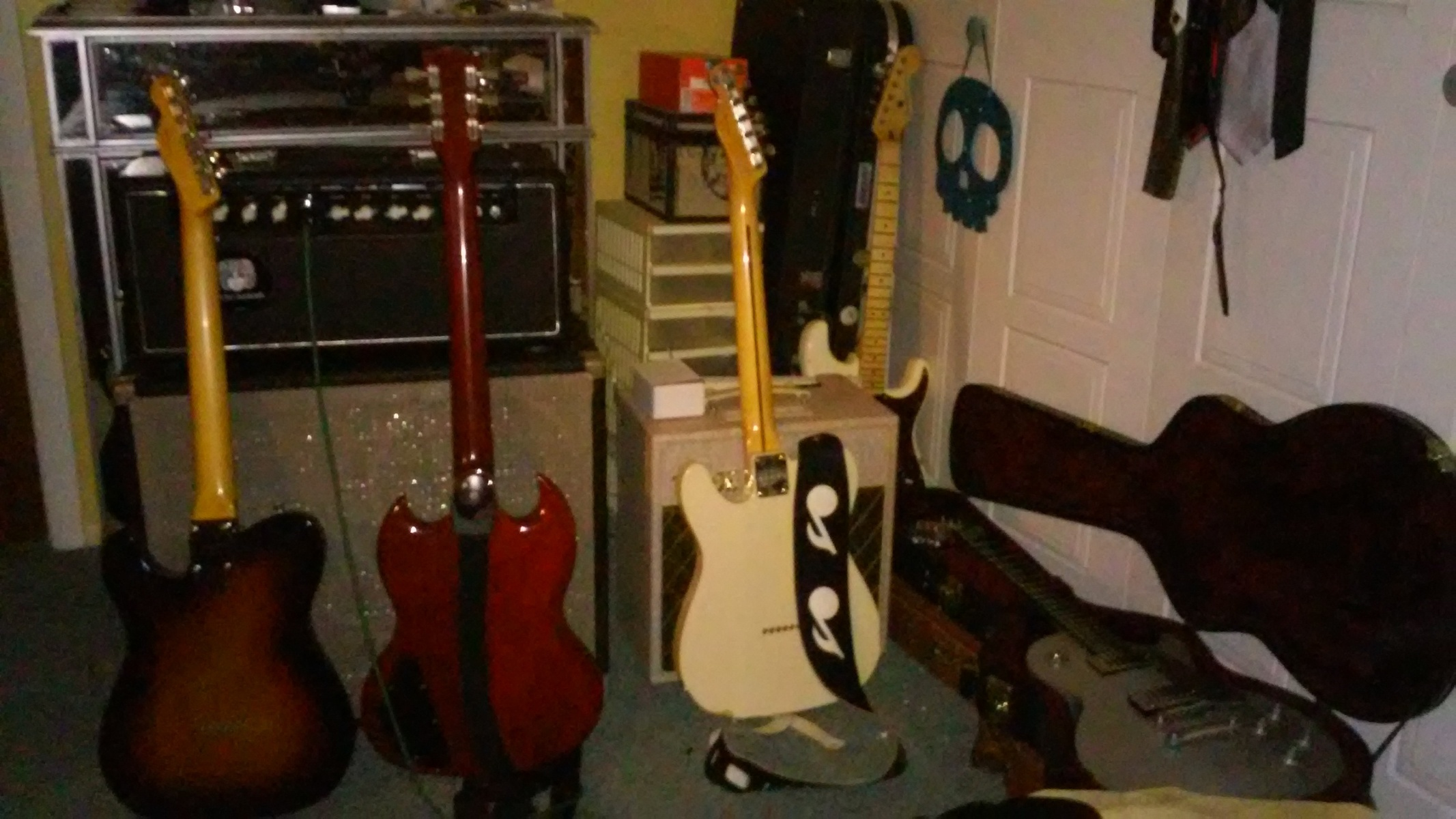 jimmarchi1's music gear photo containing Gibson SG Standard Electric Guitar, Fender Esquire, Fender Stratocaster Electric Guitar, Vox AC4HW1, Ceriatone Dizzy 30, Super Musical Products 2x12 'Feiten style' speaker cabinet, and Gibson Les Paul Studio Platinum Limited Edition