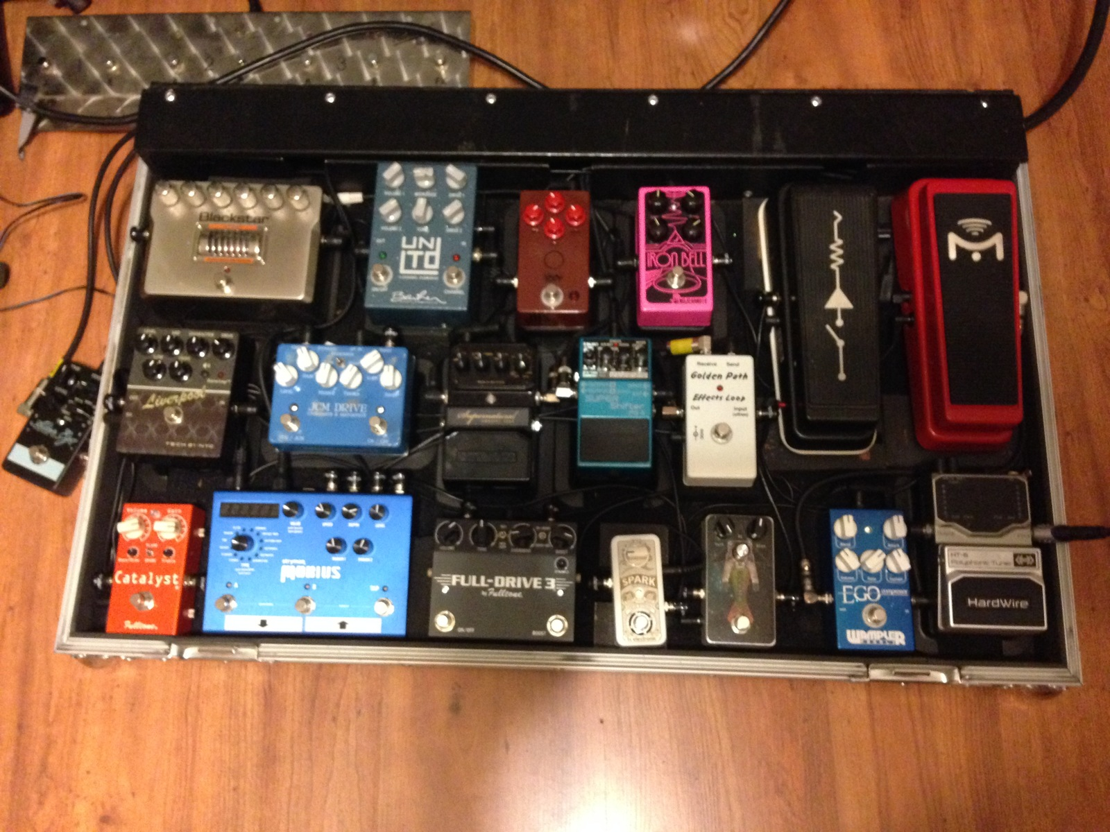 Photo of TC Electronic Spark Mini Booster and more gear in a pedalboard