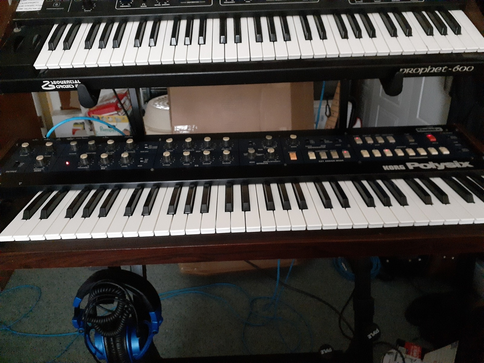 jimmarchi1's music gear photo containing Korg PolySix and Sequential Circuits Prophet 600 Synthesizer