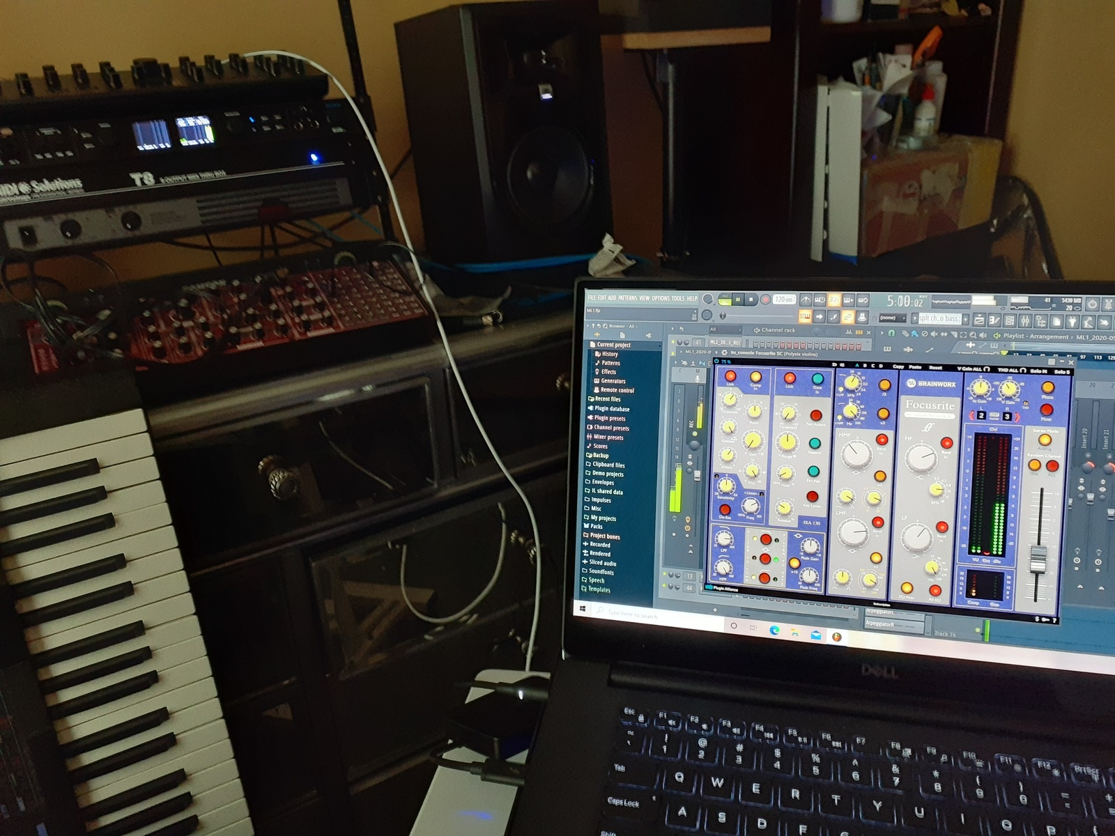 "jimmarchi1's music gear photo containing korg DW-6000, Behringer Neutron, MOTU 828es, Tannoy PBM 6.5, JBL 306P MKII Powered 6.5"" Two-Way Studio Monitors, Brainworx bx_console Focusrite SC, Image-Line FL Studio 20 Producer Edition, Modal Electronics Modal Argon8M, and Dell XPS 7590"