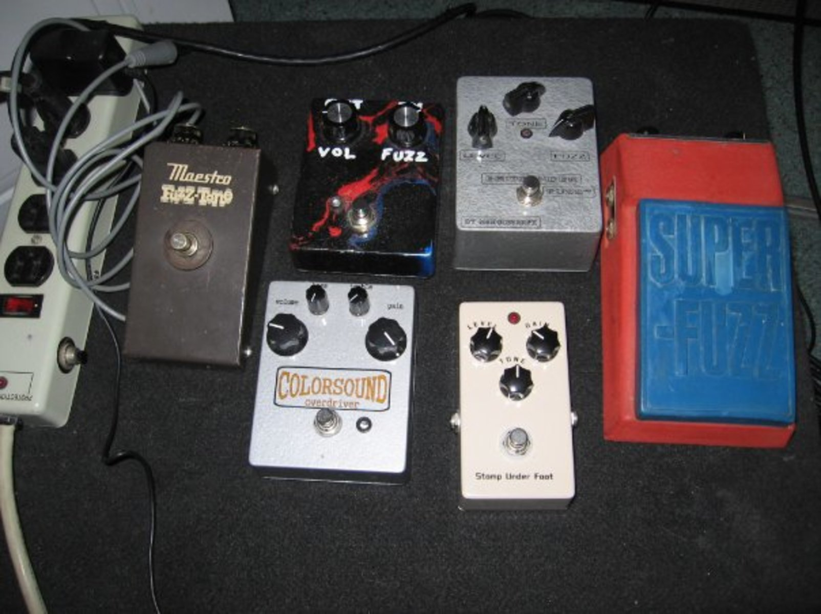 jimmarchi1's music gear photo containing Univox U-1095 Super-Fuzz, Maestro Fuzz-Tone, and Colorsound Overdriver