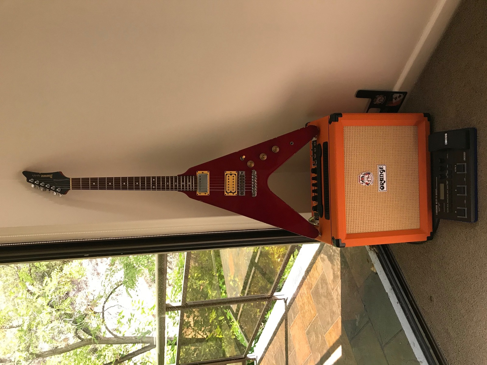 chromaticism's music gear photo containing BOSS GT-1 Guitar Effects Processor, Orange Rocker 15, and Ibanez Rocket Roll II RR50FR