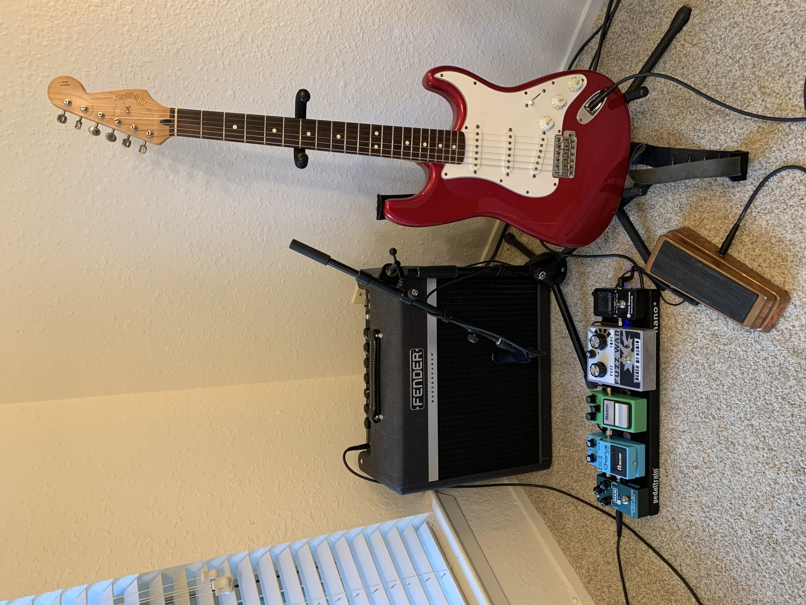 Photo of Death By Audio Fuzz War and more gear in a pedalboard, guitar, and signal chain