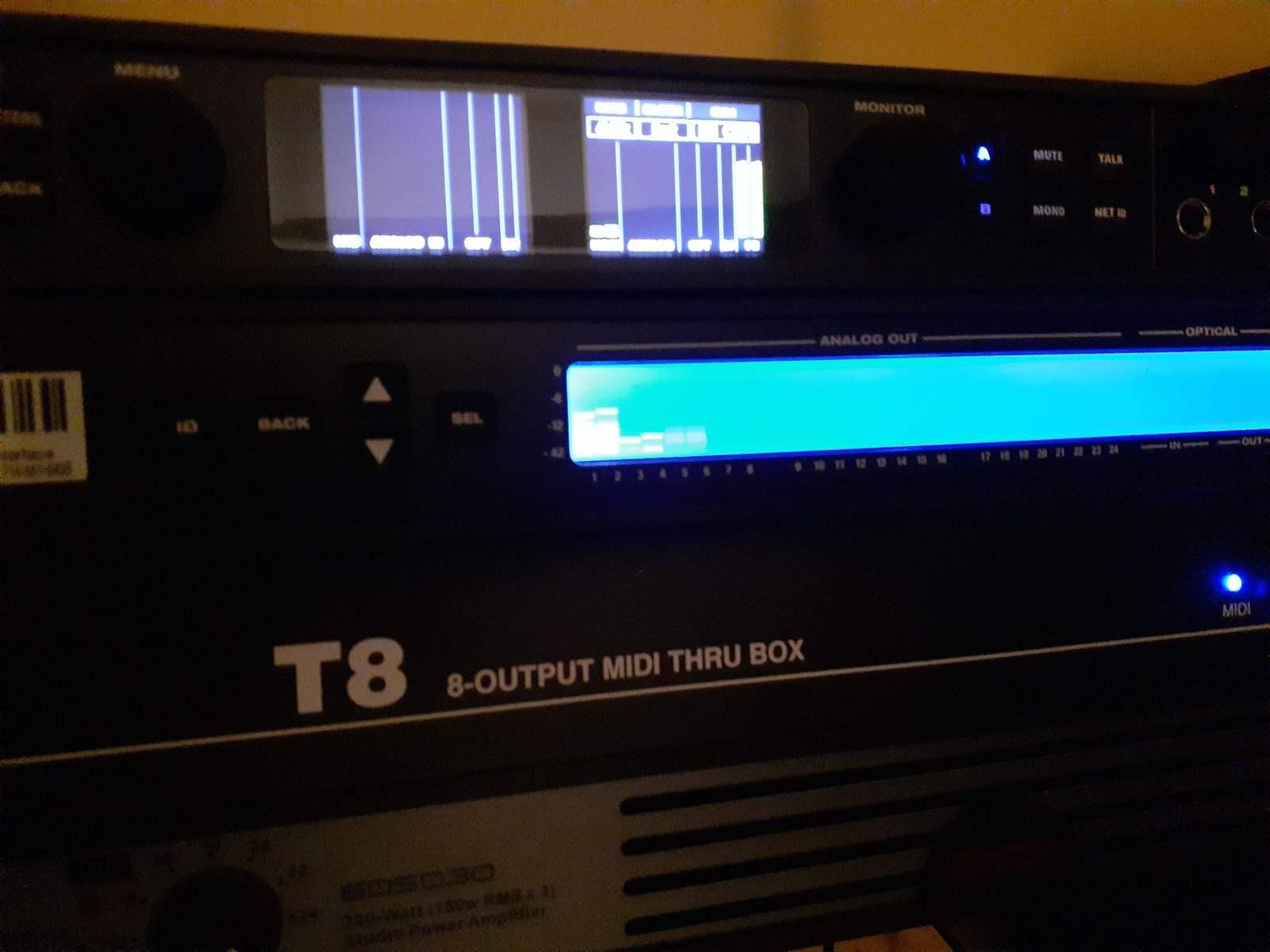 jimmarchi1's music gear photo containing MIDI Solutions T8 8-output MIDI Thru Box, MOTU 24Ao USB/AVB Ethernet Audio Interface, and MOTU 828es
