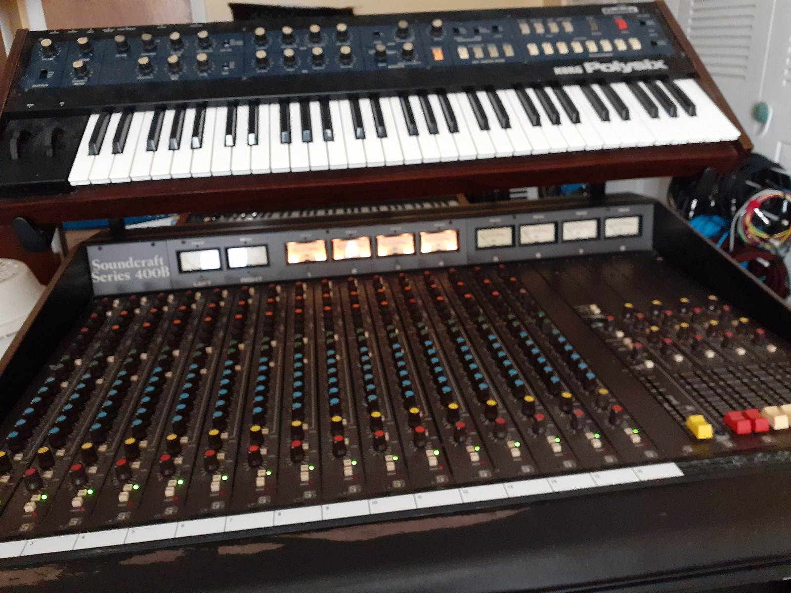 jimmarchi1's music gear photo containing Korg PolySix and Soundcraft 400B 16 channel frame