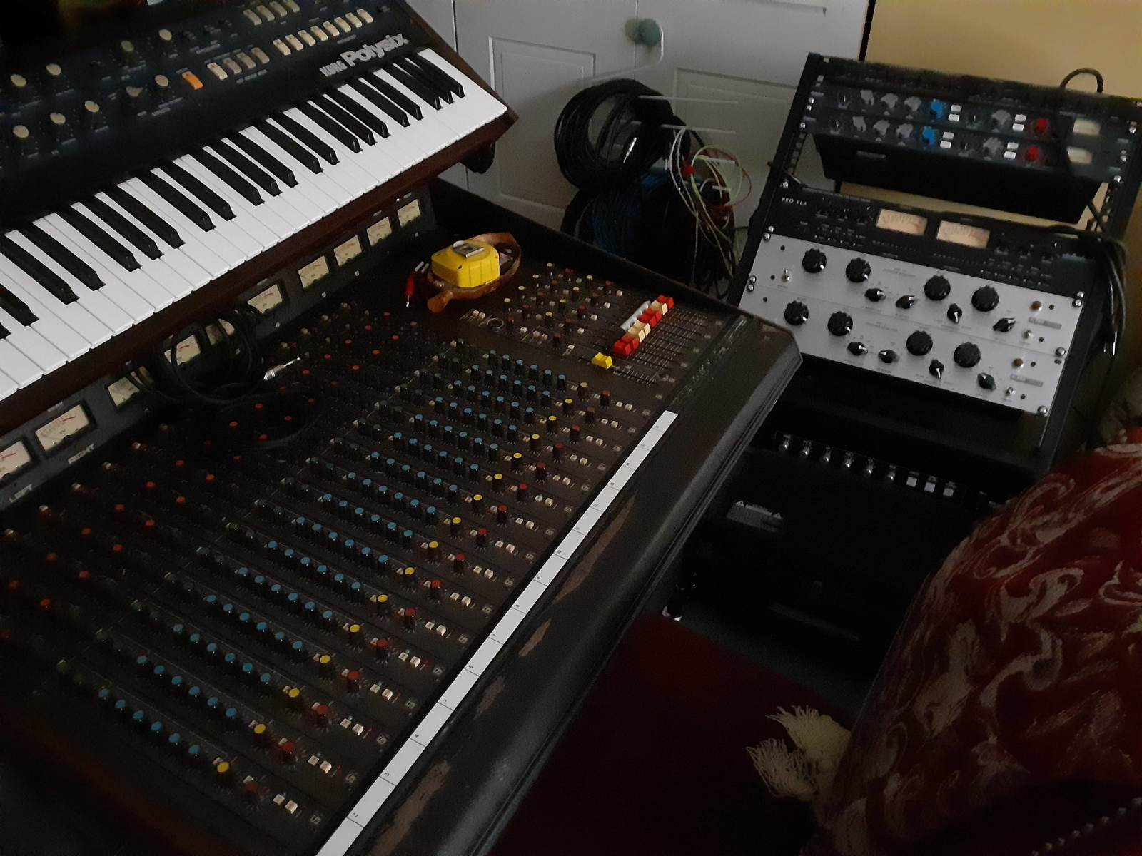 Photo of Korg PolySix and more gear in a studio, synths, and signal chain