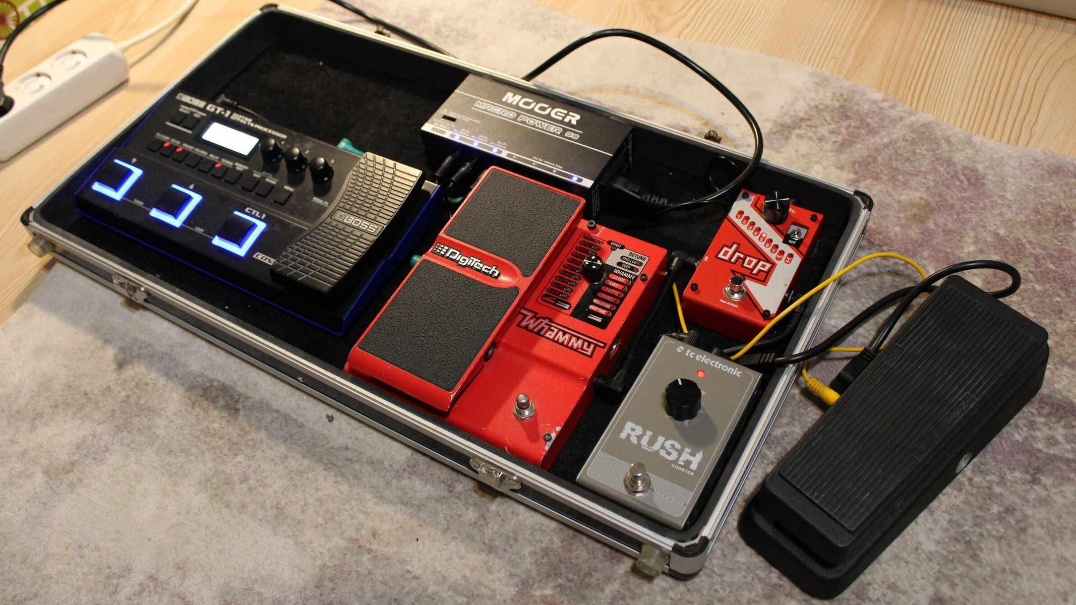 Photo of DigiTech Drop Polyphonic Drop Tune Pedal and more gear in a pedalboard and signal chain