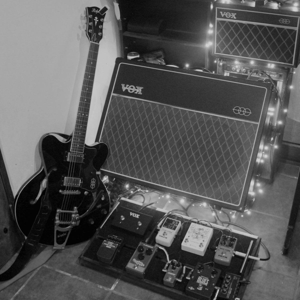 """Photo of Vox AC30C2 2x12"""" 30 Watt Tube Combo and more gear in a pedalboard, studio, and guitar"""