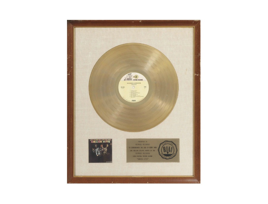 RIAA Gold Sales Award - Jimi Hendrix - Smash Hits