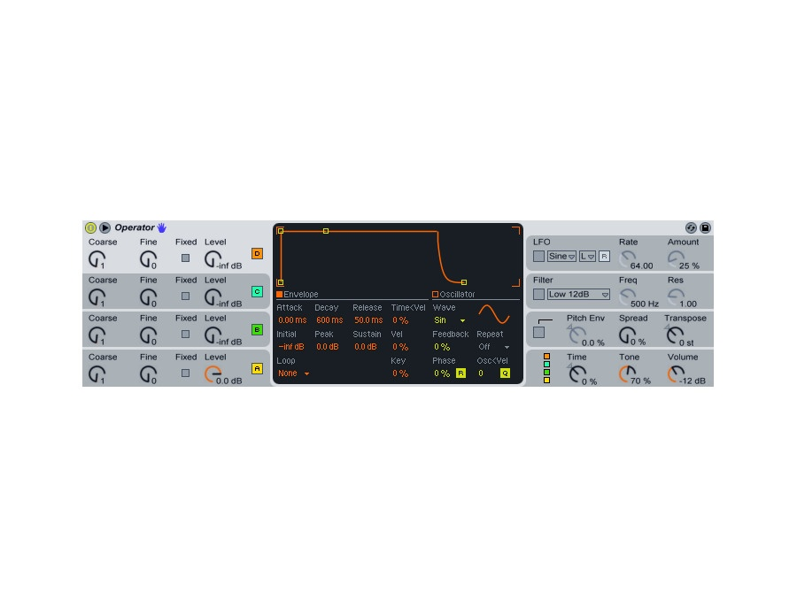 ableton operator fm synthesizer plugin reviews prices equipboard. Black Bedroom Furniture Sets. Home Design Ideas