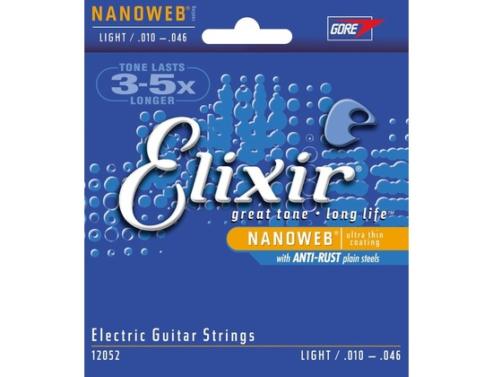 Elixir Electric Guitar Strings w NANOWEB Coating, Light .010-.046