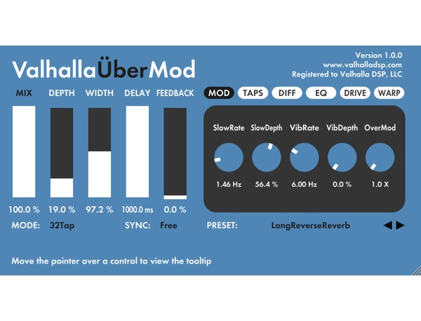 ValhallaDSP ValhallaÜberMod Multi Effects Plugin