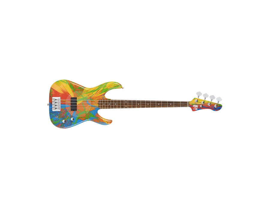Multi coloured deluxe spin bass guitar damien hirst and flea xl