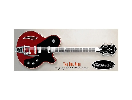 MotorAve BelAire Guitar With Bigsby - Red & Black