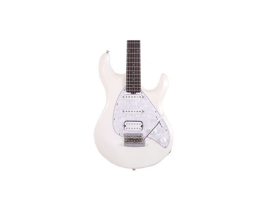 Music Man Albert Lee HH Hardtail Electric Guitar  - White With White Pearloid Pick Guard