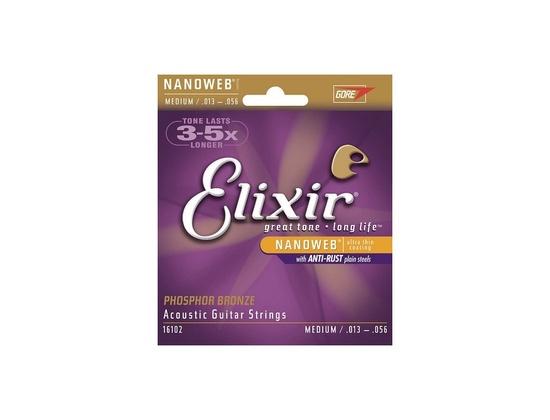 Elixir 16102 Nanoweb Coated Phosphor Bronze Acoustic Guitar Strings