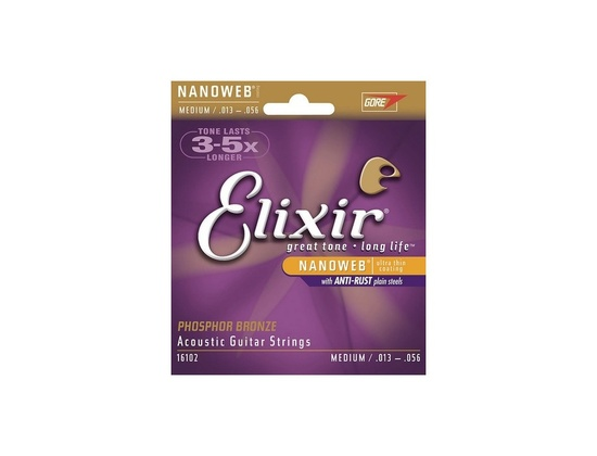 Elixir 16102 Nanoweb Coated Phosphor Bronze Acoustic Guitar Strings