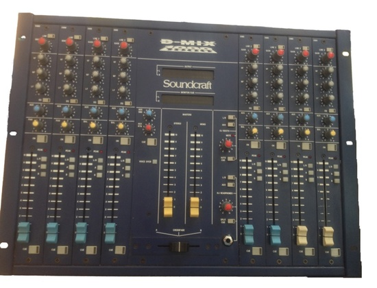 Soundcraft D-Mix 1000 MKII with blue/red fluorescent VU meters