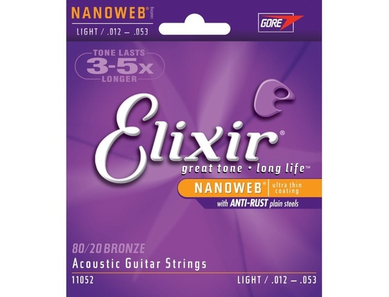 Elixir 80/20 Bronze with NANOWEB Strings, Light .012-.053