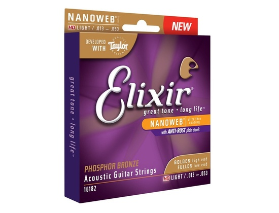 Elixir 16182 Nanoweb Phosphor Bronze HD Acoustic Guitar Strings