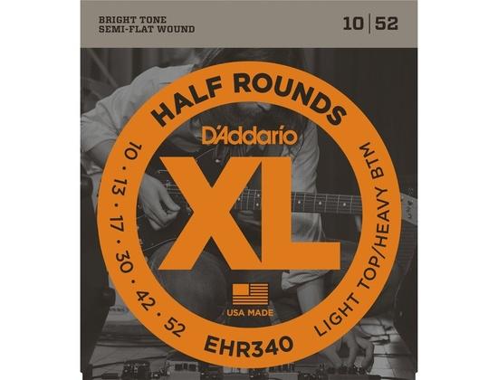 D'Addario EHR340 Half Round Light Top/Heavy Bottom Electric Guitar Strings (10-52)