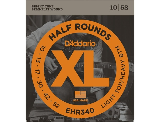 D'Addario EHR340 Half Round Light Top/Heavy Bottom Electric Guitar Strings (10-52)