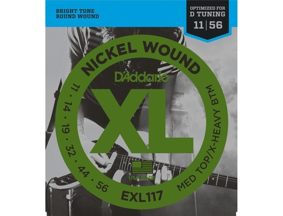 D'Addario EXL117 Nickel Wound, Medium Top/Extra-Heavy Bottom, Electric Guitar Strings (11-56)
