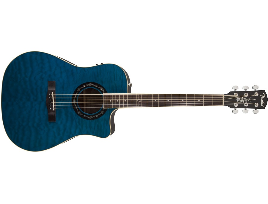 Fender T-Bucket 300CE Acoustic Electric Guitar (Trans Blue Quilt)