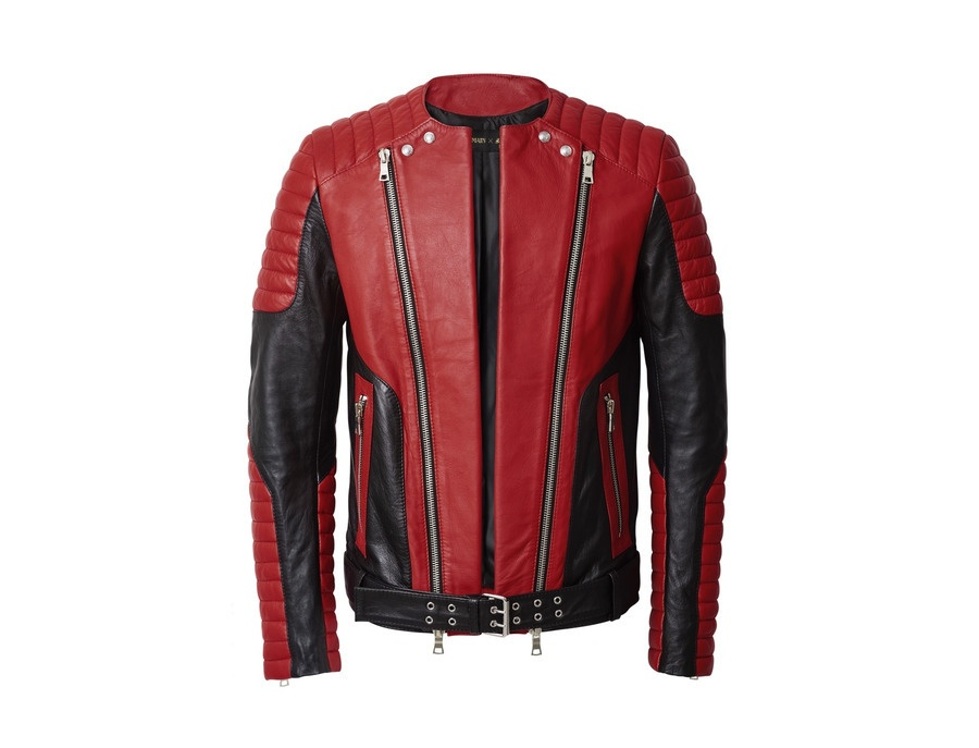 H&M X Balmain Leather Jacket Red
