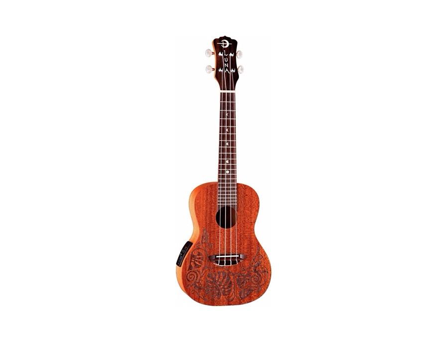 Luna Guitars Mo'o Concert Acoustic-Electric Ukulele Lizard Mahogany