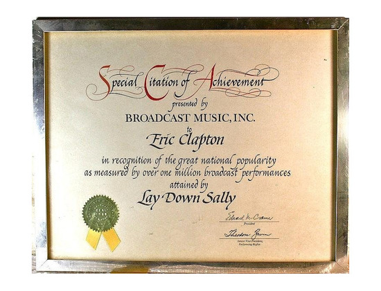 """BMI Special Citation of Achievement – """"Lay Down Sally"""" [1 million]"""