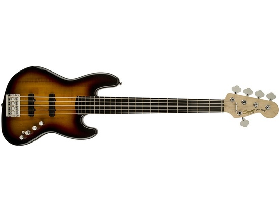 Squier Deluxe Active Jazz Bass V String, 3 Tone Sunburst