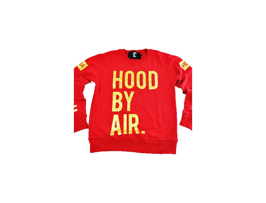"HBA	""Hood by Air"" Heat Long Sleeve Red Shirt"