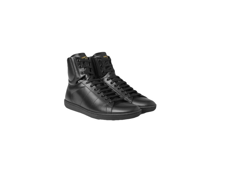 Saint Laurent Classic SL/01H High Top Sneaker in Black Leather