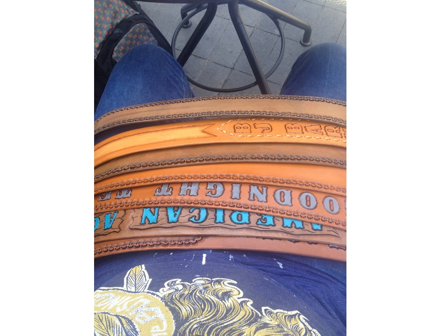 Dad country leather custom guitar strap xl